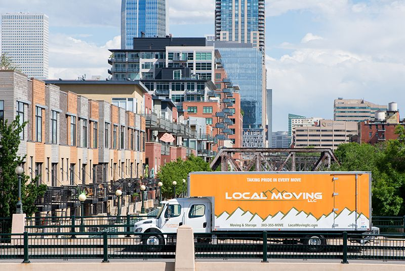 Image of moving truck with long distance movers in Downtown Denver